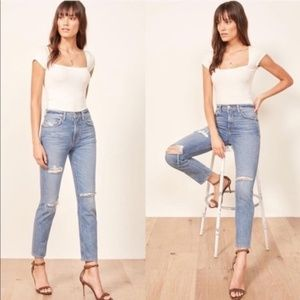 Reformation Distressed High Rise Cigarette Jeans